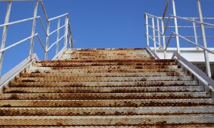 A rust-covered stairway in the 2004 Athens Olympic Games Complex. Picture: Oli Scarff/Getty Images Europe
