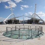 A broken glass area of flooring is cordoned-off in front of the Athens Olympic Stadium, February 2012. Picture: Oli Scarff/Getty Images Europe