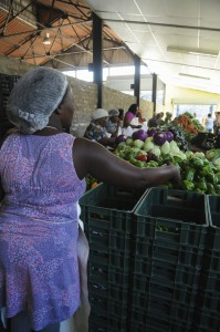 Packing the harvest for those Abalimi veggie boxes