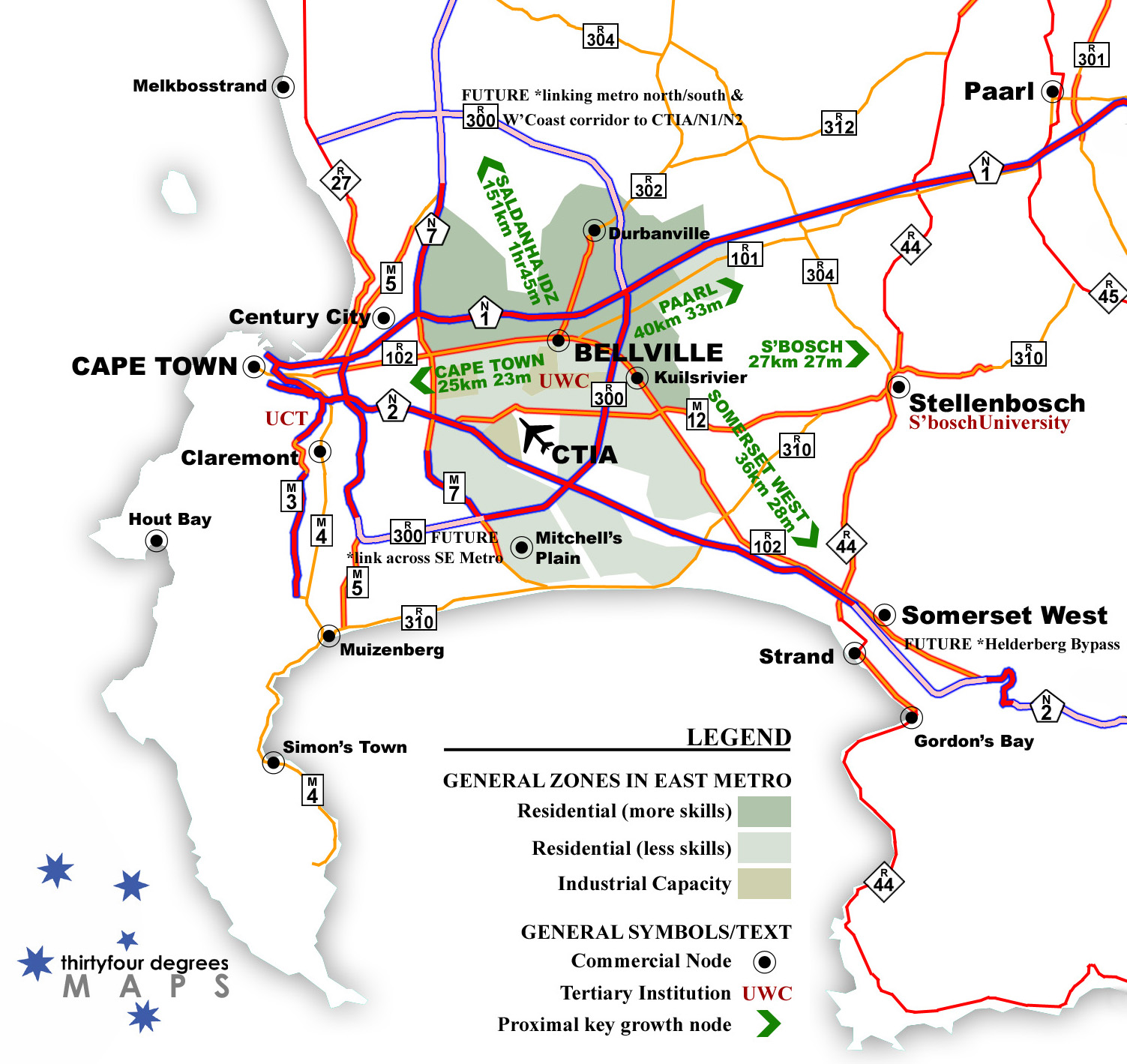 Map showing Bellville as transport hub