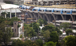 The old Indian Museum, left, stands near Maracana soccer stadium, right, in Rio de Janeiro, on March 19, 2012 (AP Photo/Victor R. Caivano)