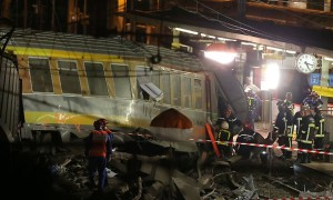 A packed passenger train skidded off its rails after leaving Paris on Friday. Picture: AP