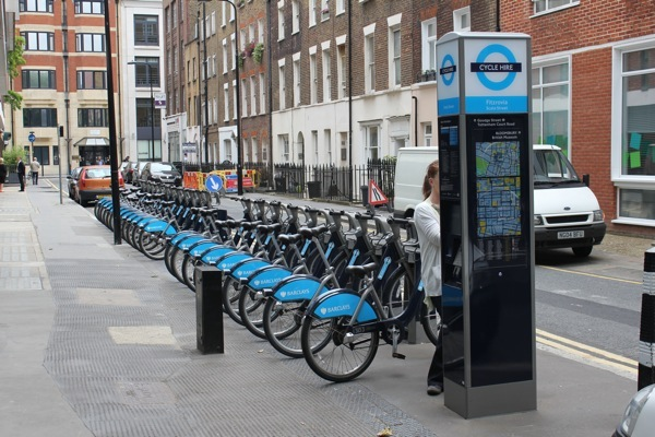 A self-service docking station in London. Credits: Christopher Karlson, 2011