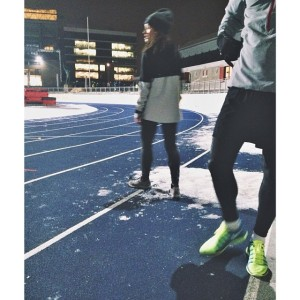 5. Østerbro Stadium running in the snow. Photo NBRO running