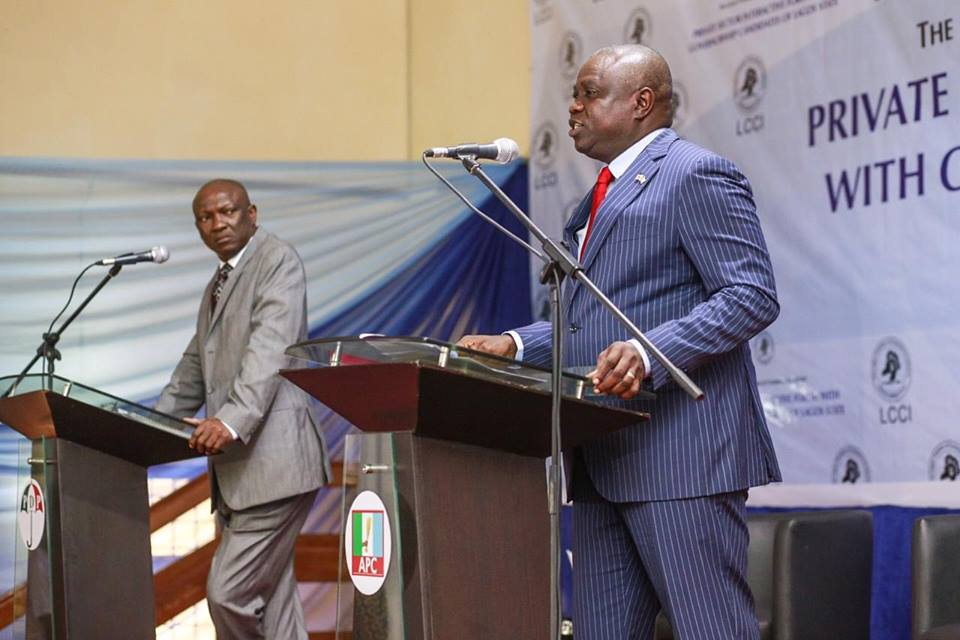 Jimi Agbaje And Ambode At The Lagos State Governorship Debate Source: www.nairaland.com