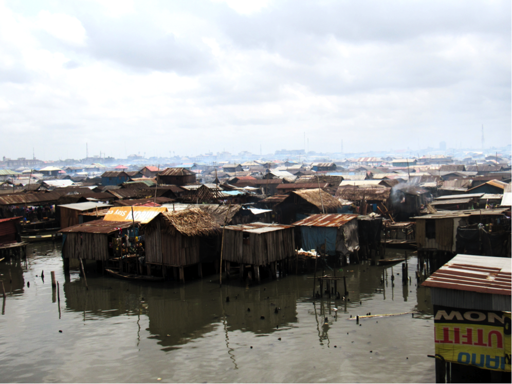 Aerial view of Makoko showing the raised dwellings