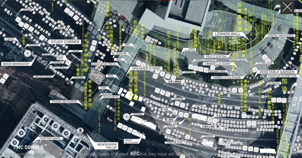 Architects Caroline Wuethrich and Geraldine Borio's map over the 2011 Hong Kong protests