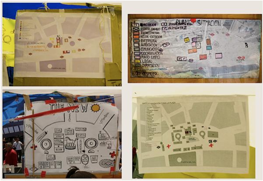 Maps from Acampadasol, Madrid 2011, montage by Julia Ramírez Blanco.