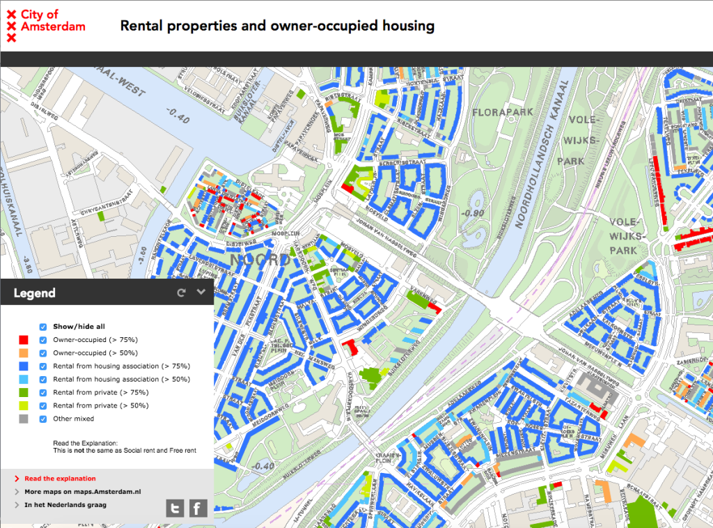 'Rental Properties and owner-occupied housing'-map from City of Amsterdam's interactive maps series