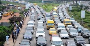 Traffic at a roundabout in on Lagos Island